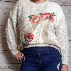 Sweaters - 3/$30 Vintage Cream Floral Sweater